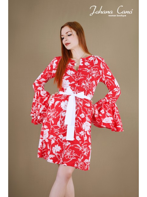 Kimono Lunny Rojo Flores