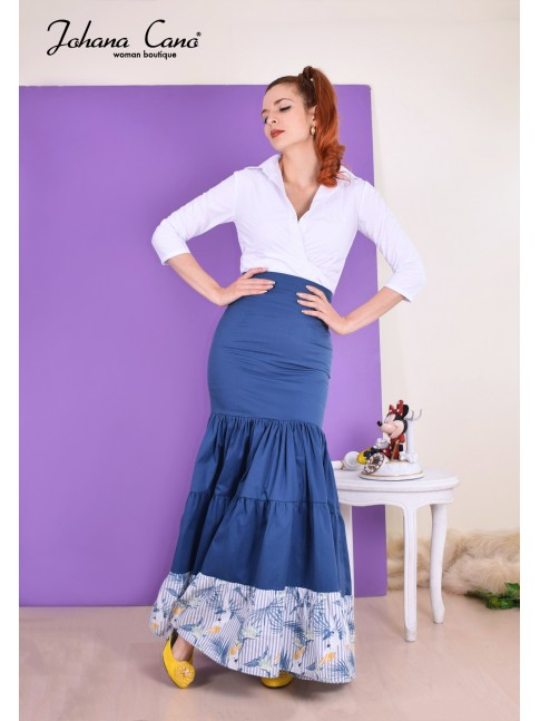 Falda Barley Azul Flores