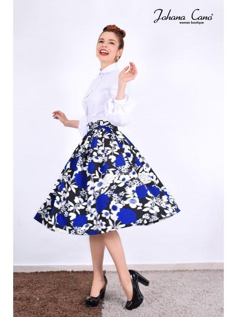 Falda Luens Negra Flor Azul