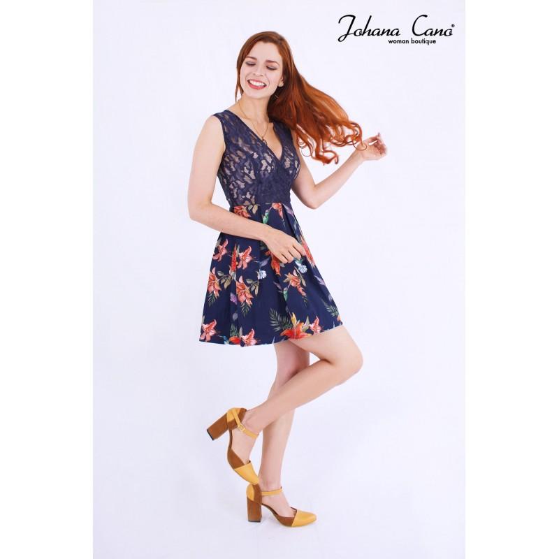Vestido Vilna Azul Flores INVERSIONES JOHANA CANO S.A.S