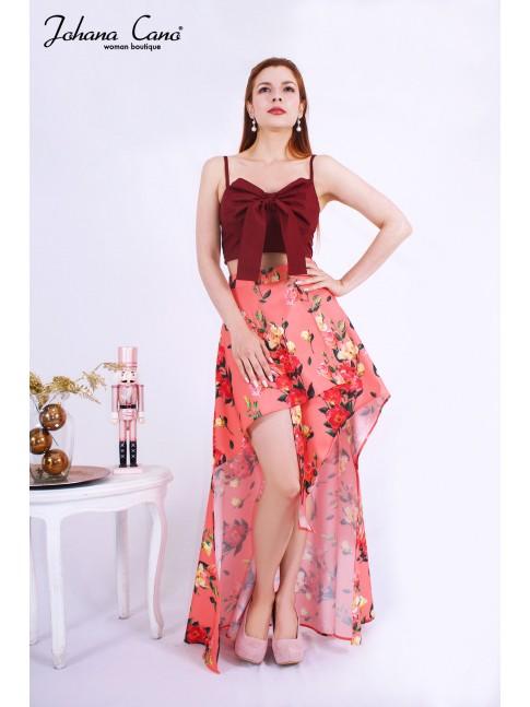 Falda Zeem Salmon Flores