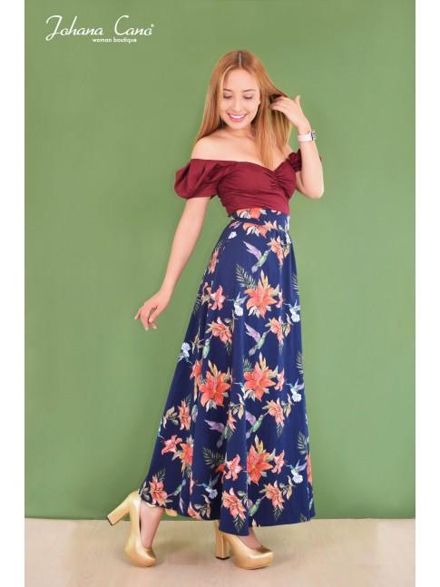 Falda Brea azul Deseos Flores