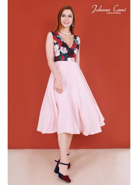 Vestido Versalles Rosa Estampado