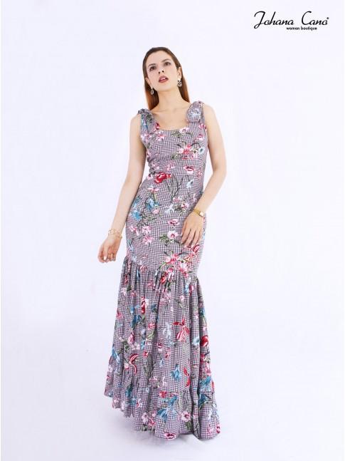 Vestido Orel Cuadros Flores