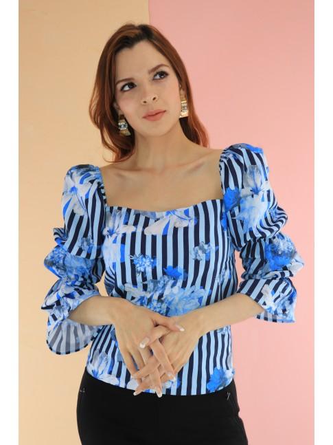 Blusa Dallas Azul Flores